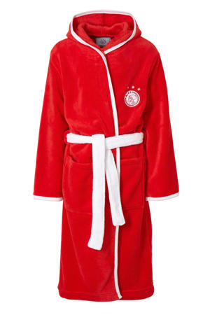 fleece badjas met logo junior rood/wit