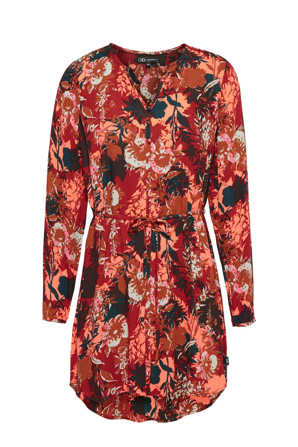 Didi blousejurk met all over print en ceintuur rood, Rood