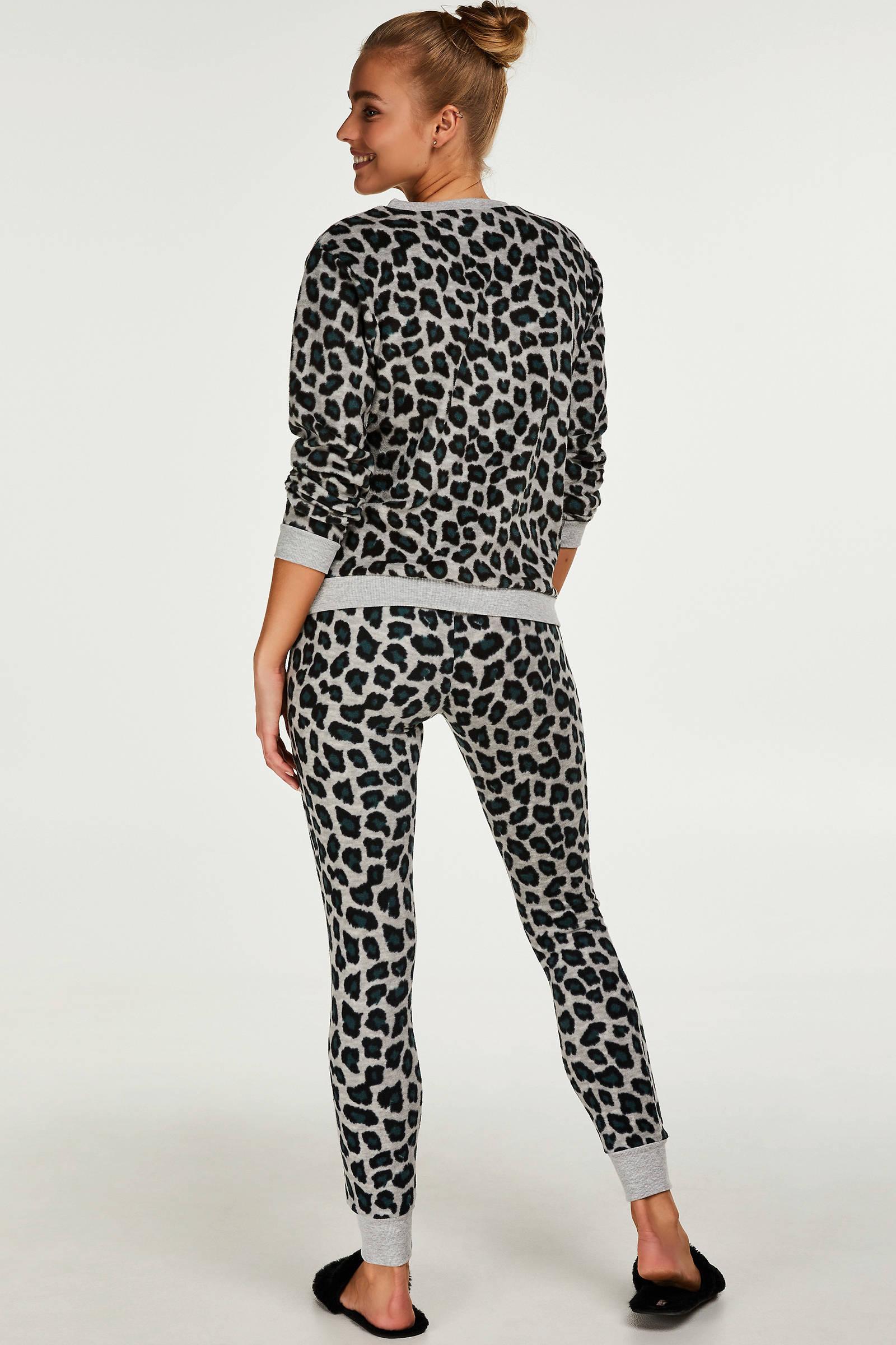 Hunkemöller fleece pyjamabroek met panterprint grijszwart