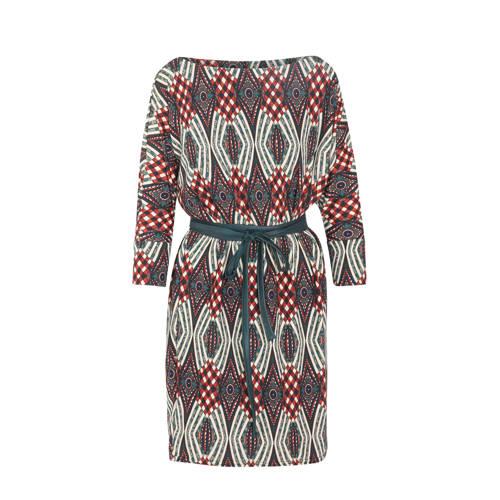 Cassis jersey jurk met all over print en ceintuur