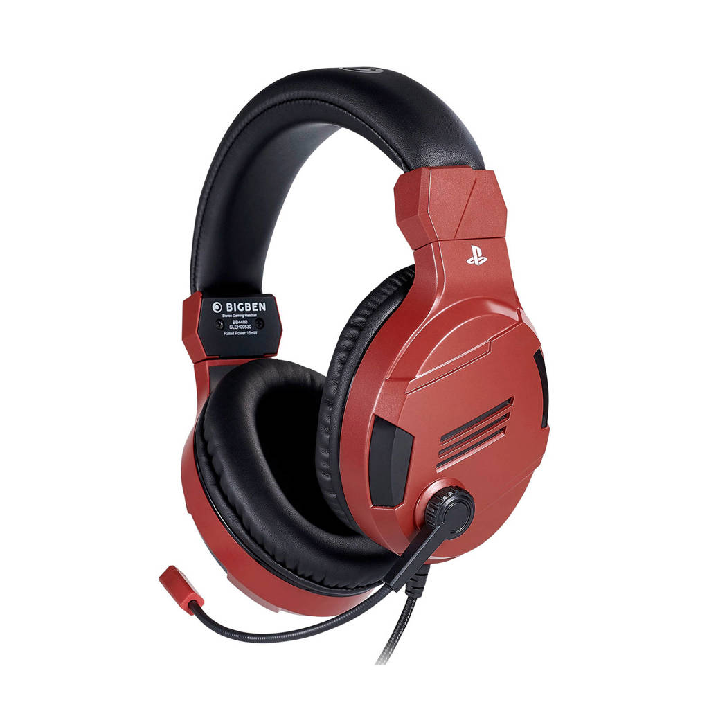 BigBen  Stereo gaming headset V3 rood, Rood