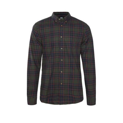 WE Fashion geruit slim fit overhemd forest night