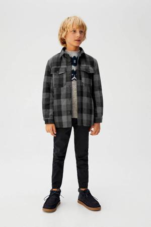 gewatteerde jas met ruitdessin grijs/zwart