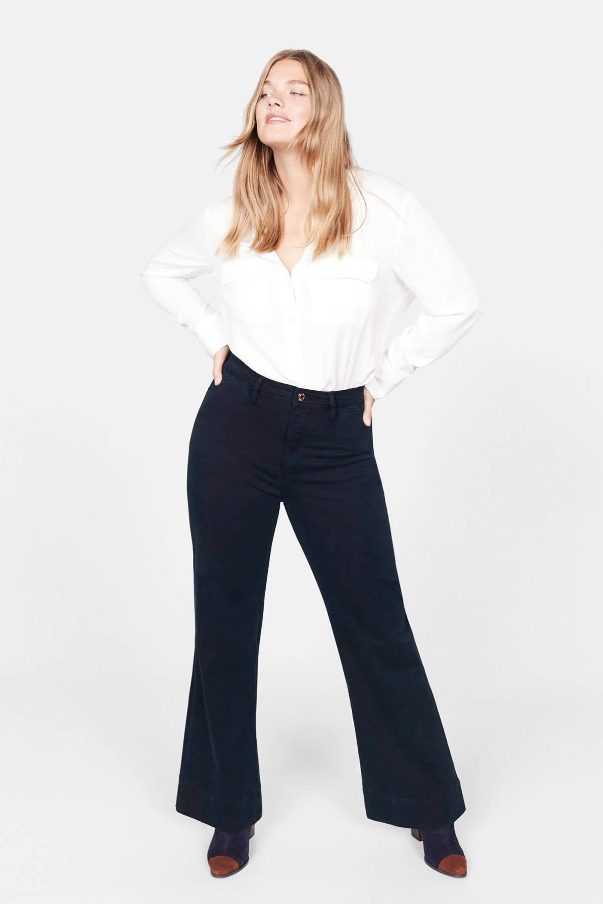Violeta by Mango high waist flared broek blauw | wehkamp