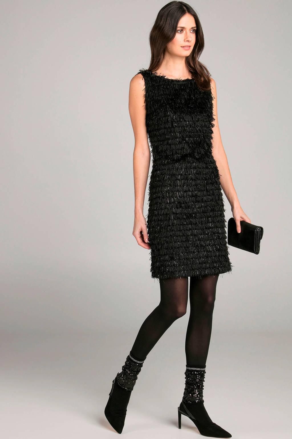 Claudia Sträter jurk met franjes zwart, Zwart
