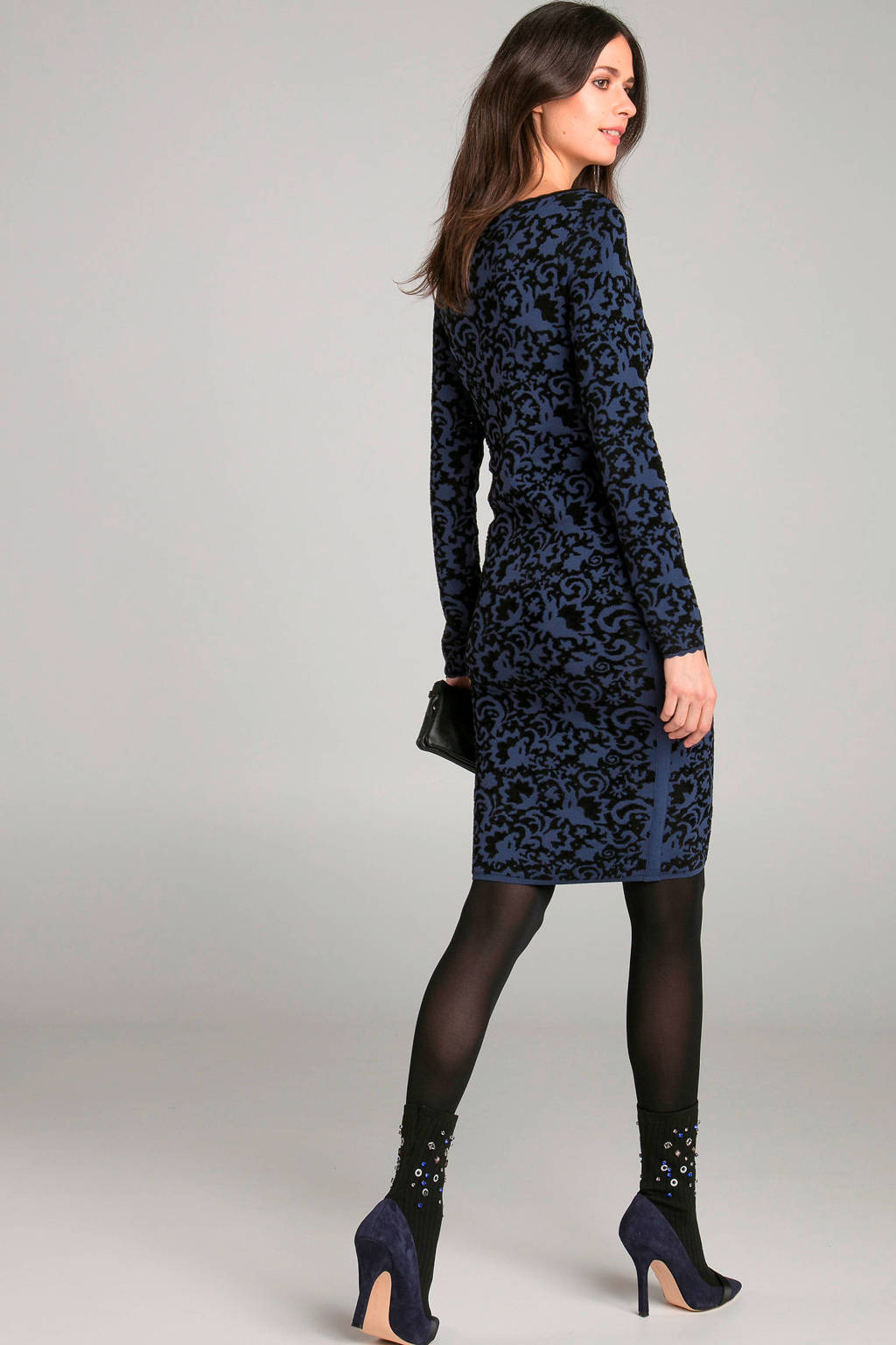 Claudia Sträter jurk met jacquard donkerblauw, Donkerblauw