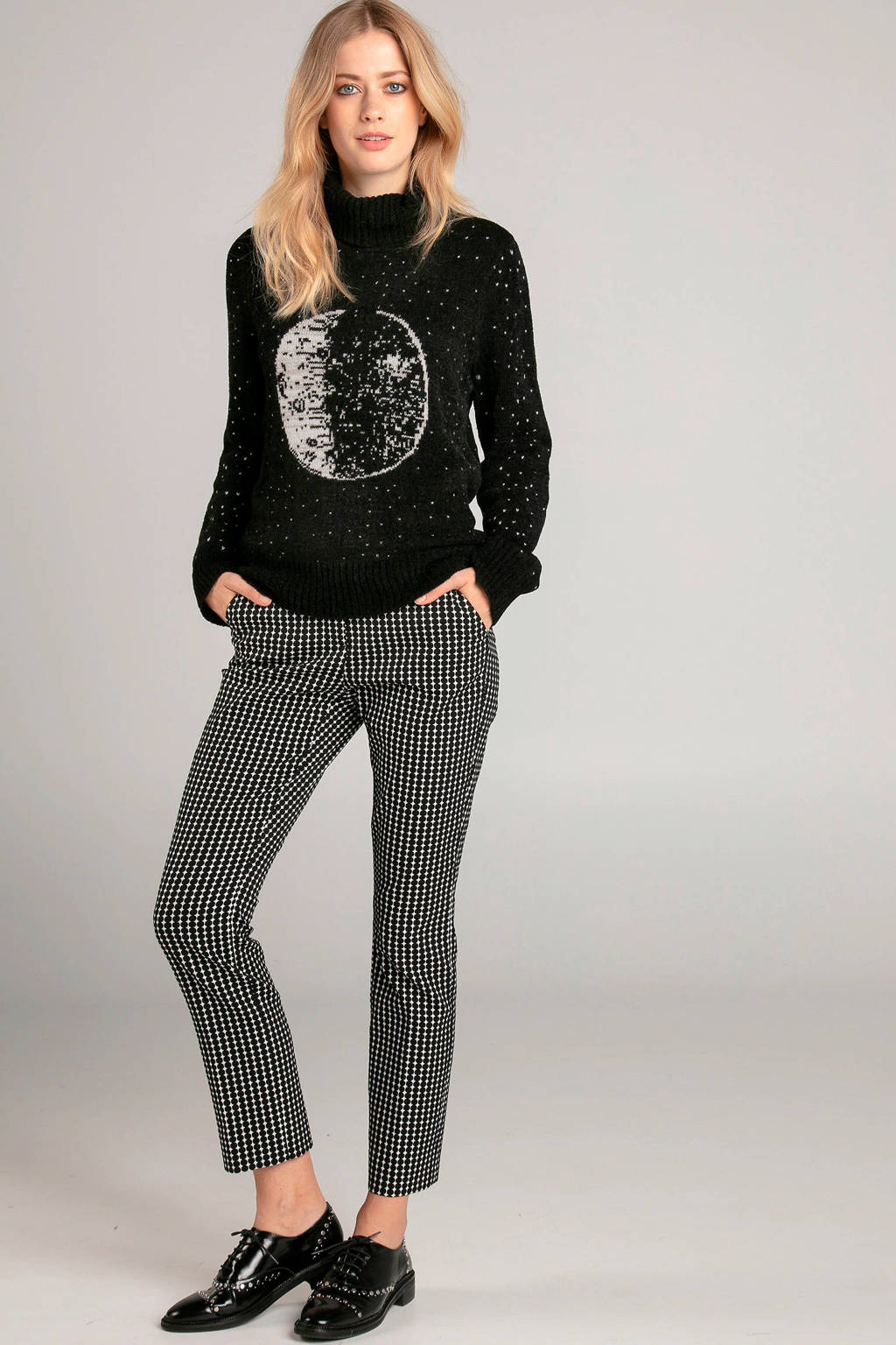 Claudia Sträter straight fit broek met stippen zwart/wit, Zwart/wit
