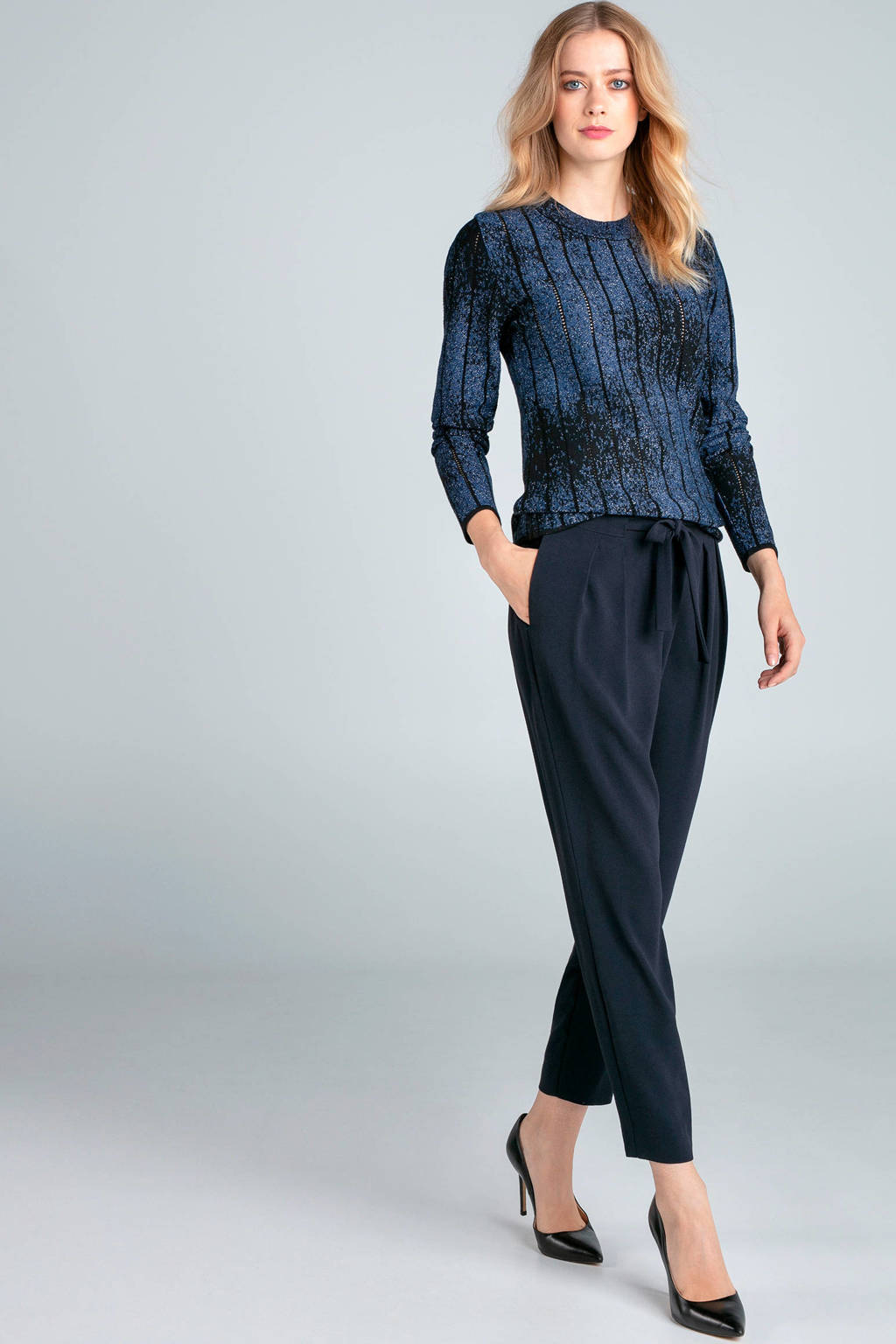 Claudia Sträter tapered fit broek donkerblauw, Donkerblauw