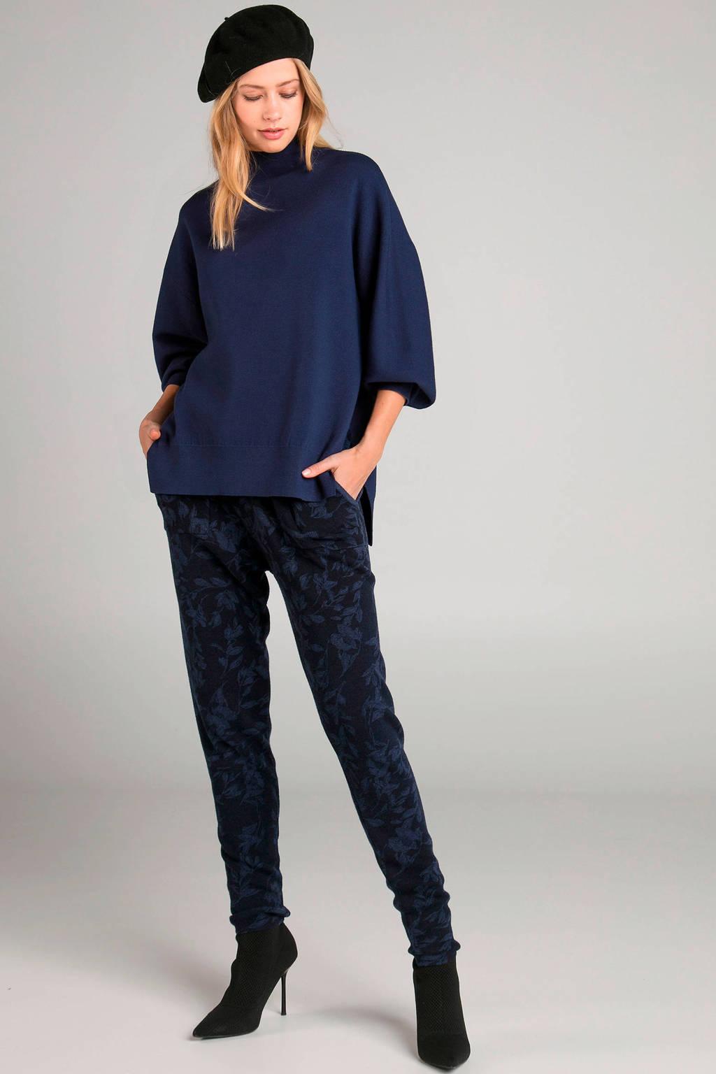 Claudia Sträter wollen skinny joggingbroek met jacquard donkerblauw, Donkerblauw