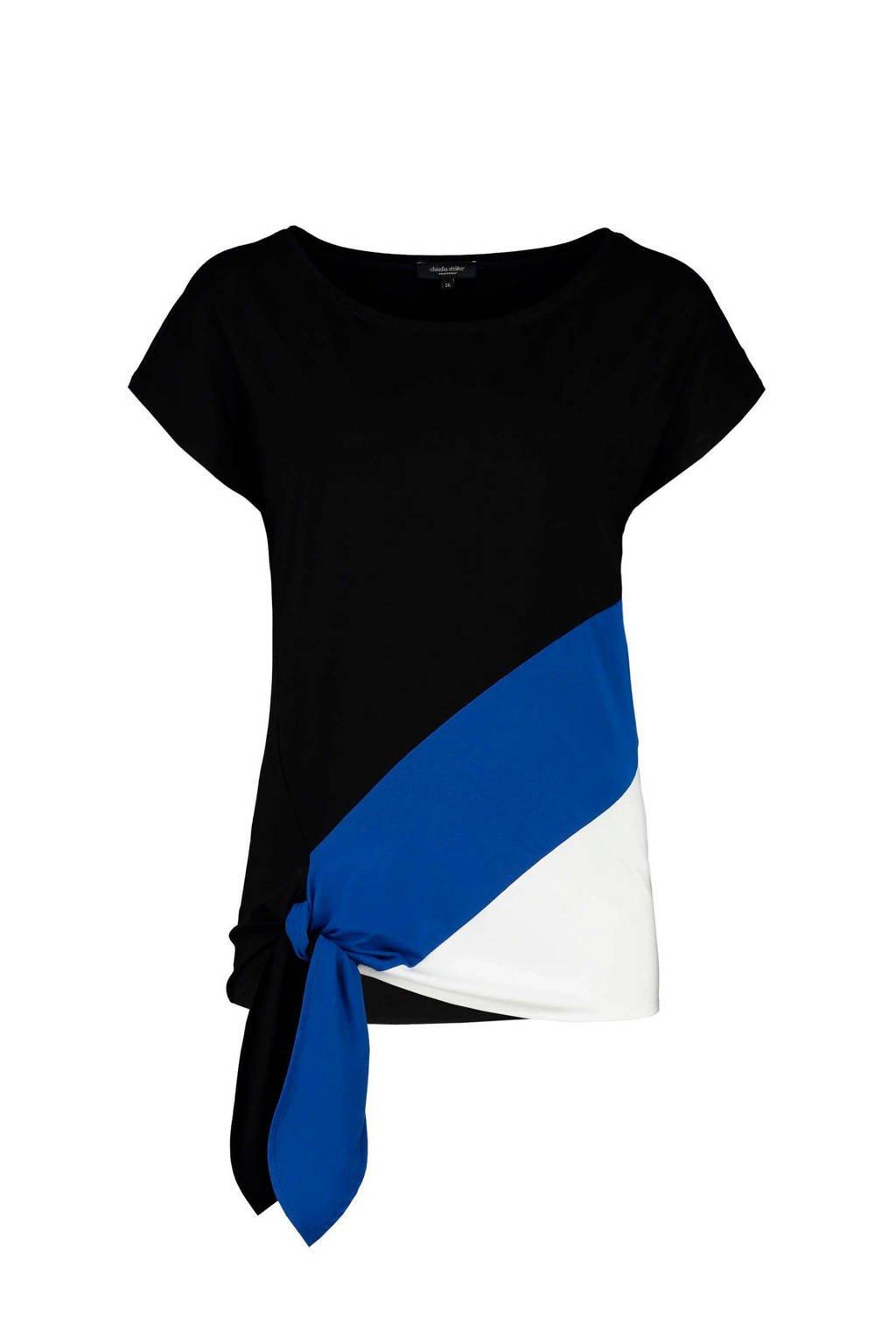 Claudia Sträter T-shirt zwart/blauw/wit, Zwart/blauw/wit