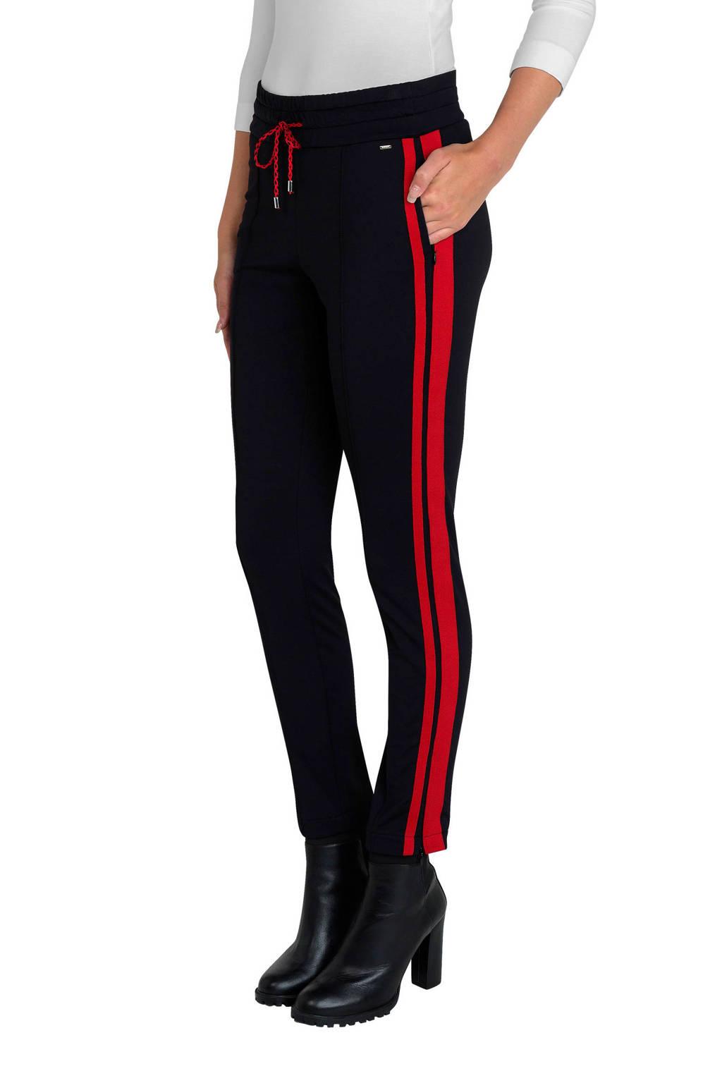 Claudia Sträter gestreepte slim fit joggingbroek met zijstreep zwart/rood, Zwart/rood
