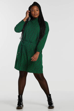 jurk Plus size met panterprint groen/zwart