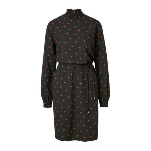 anytime jurk zwart met brique stippenprint