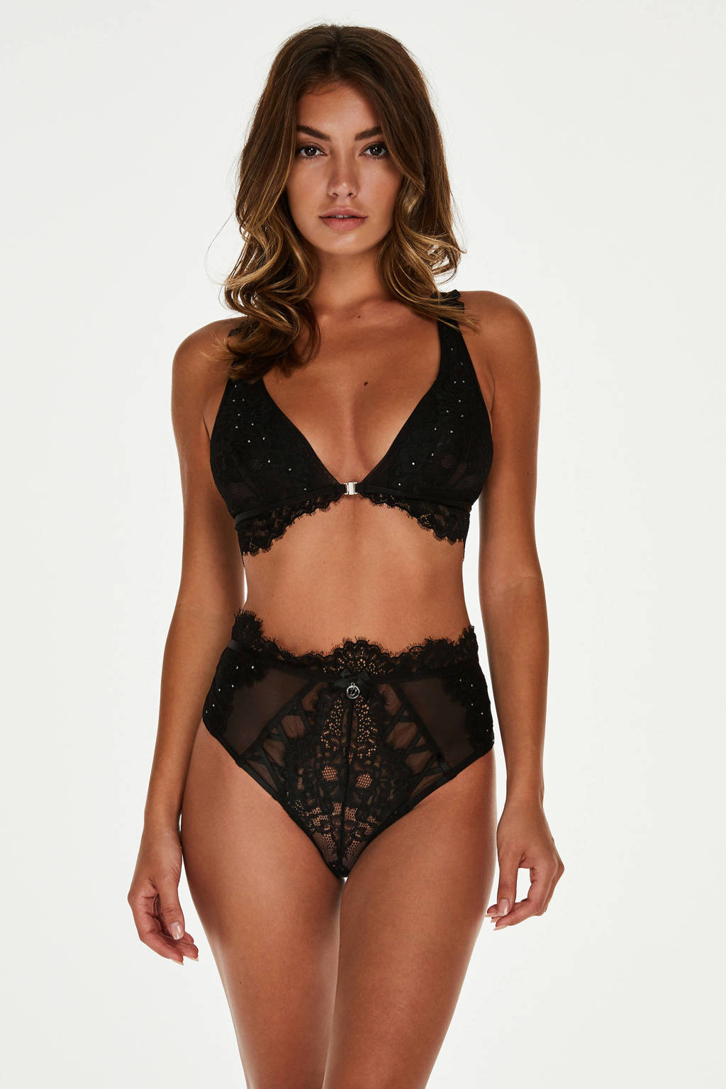 Hunkemöller Designer collaborations high waist string Charming zwart, Zwart