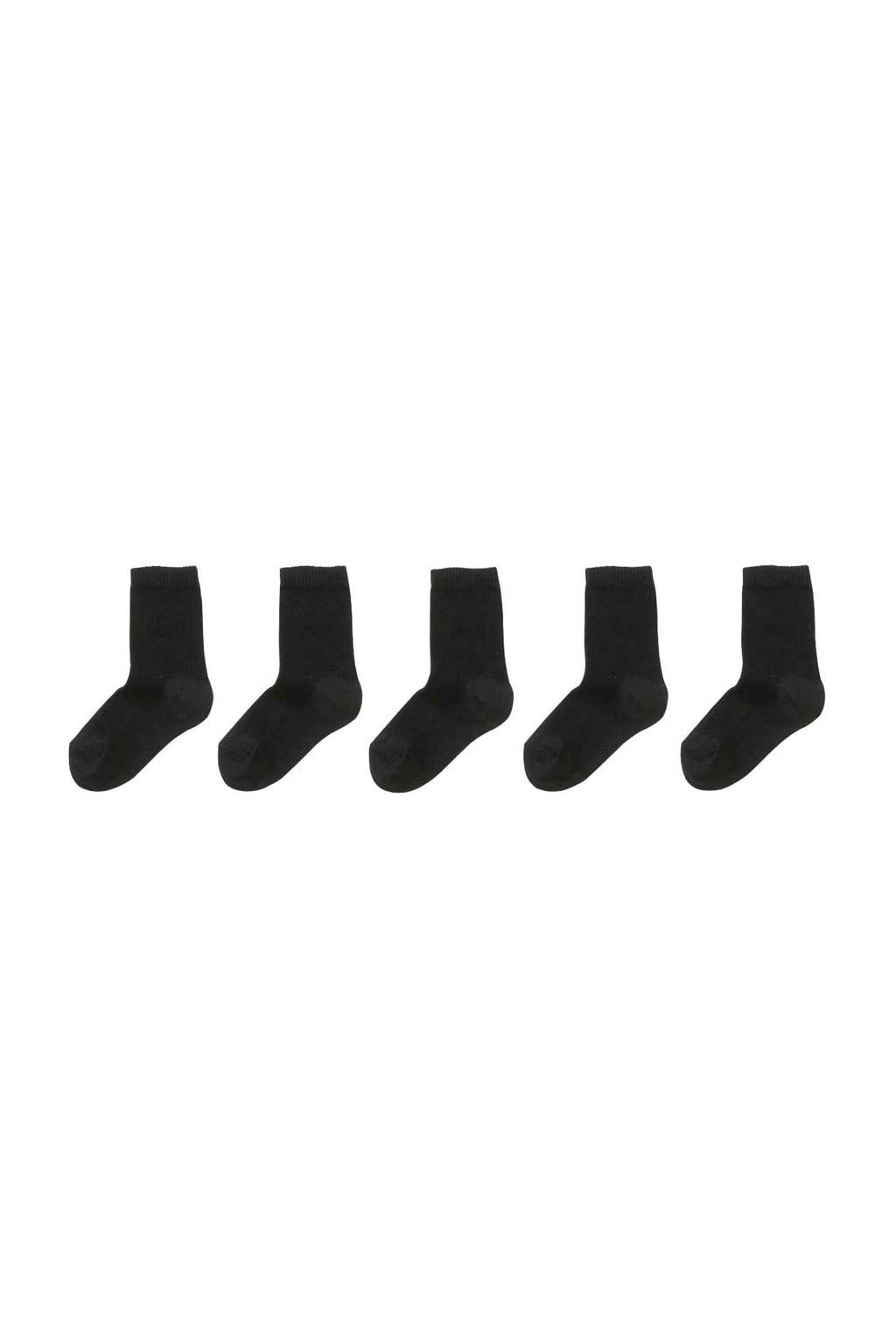 HEMA sokken - set van 5 zwart, Zwart