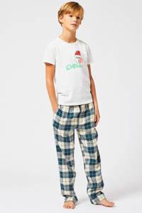 America Today Junior pyjamabroek met ruitdessin blauw/ecru Nath, Blauw/ecru/donkerblauw