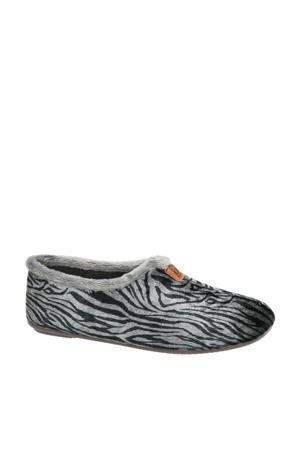 pantoffels tijgerprint grijs