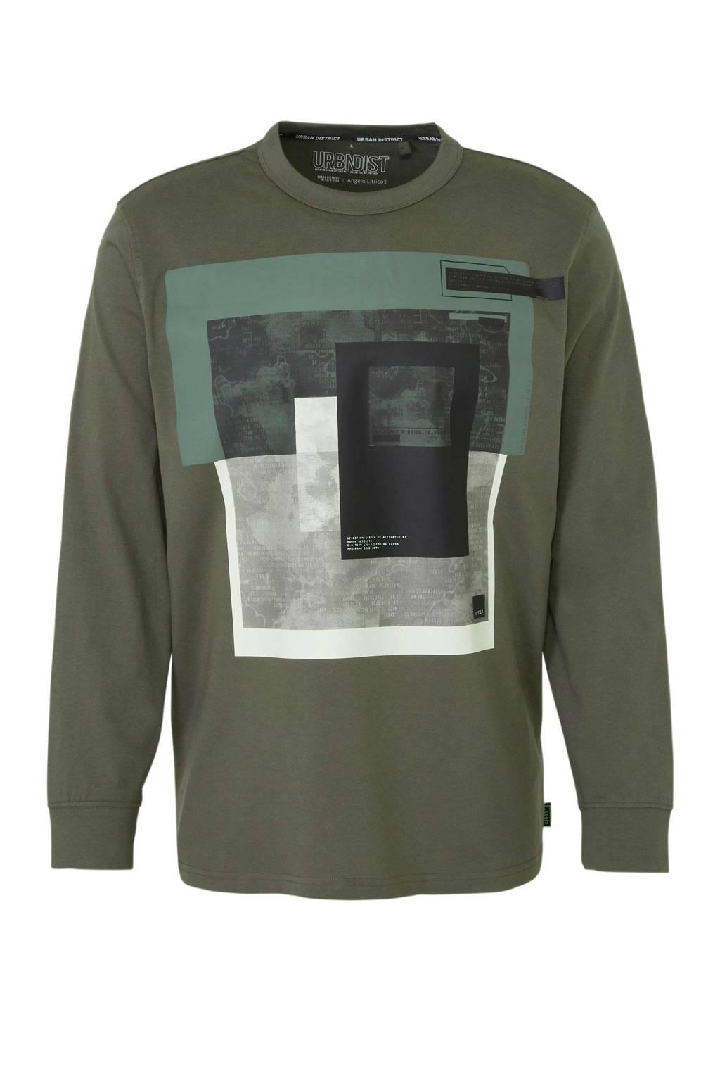 C&A Angelo Litrico T-shirt met printopdruk kaki/wit/groen, Kaki/wit/groen