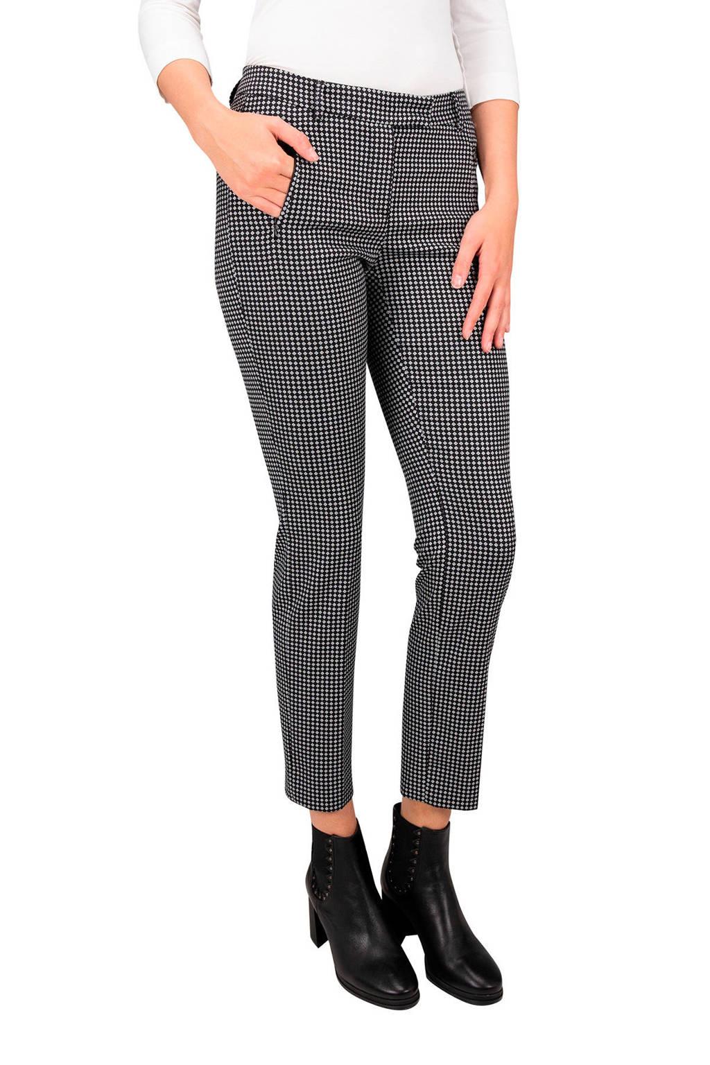 Claudia Sträter tapered fit broek met all over print zwart/wit, Zwart/wit