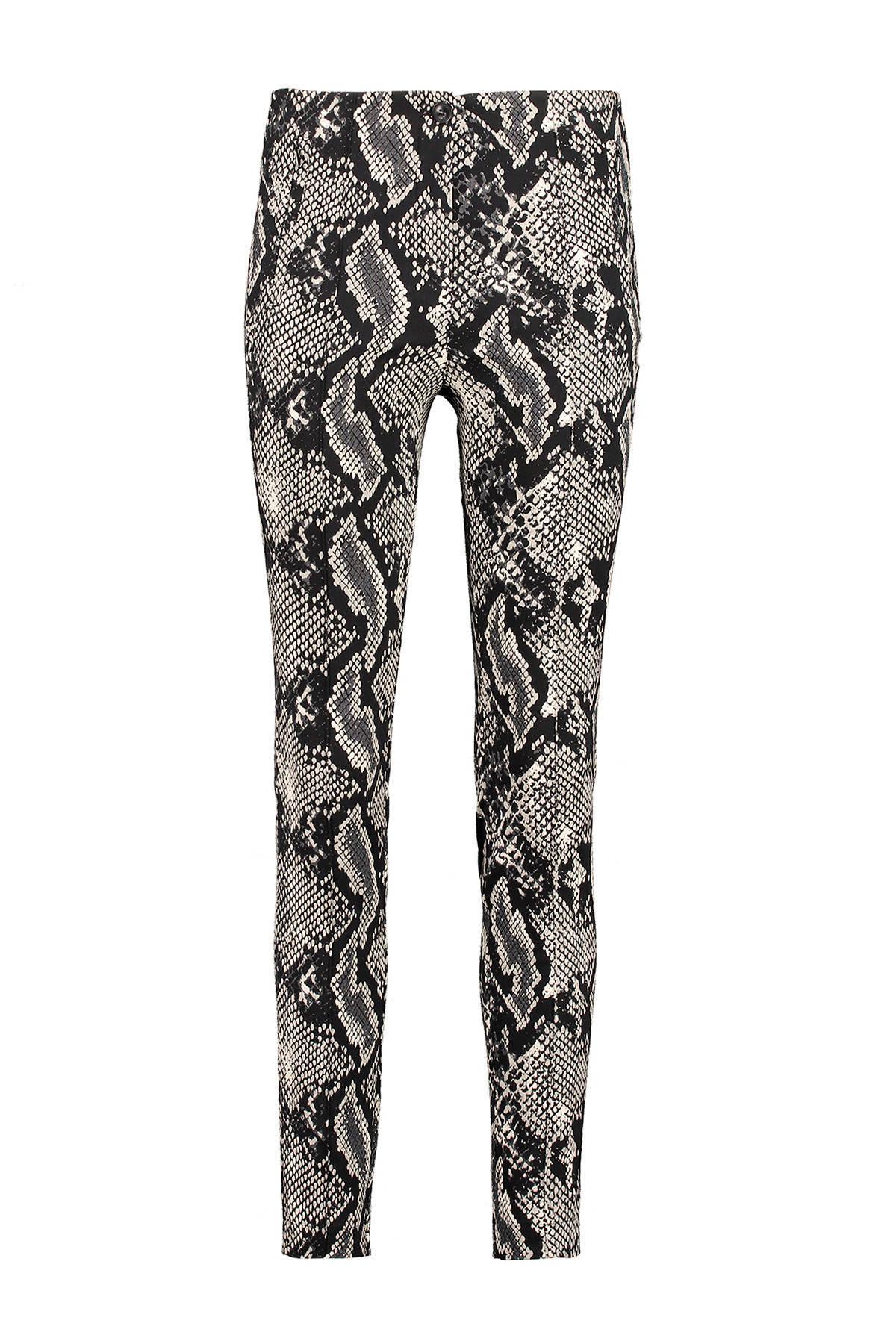 slim fit broek met slangenprint grijs