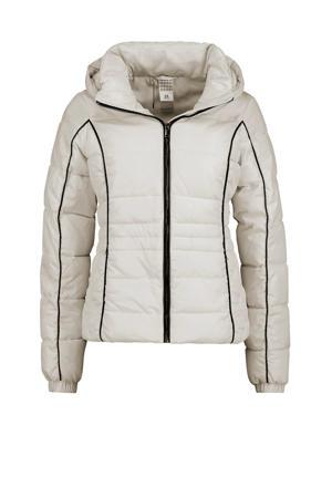 gewatteerde jas met contrastbies wit