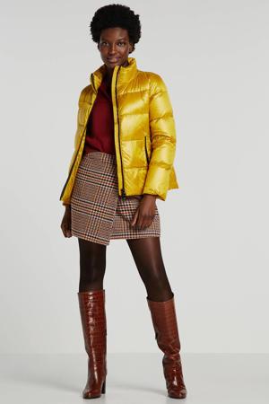 gewatteerde jas geel