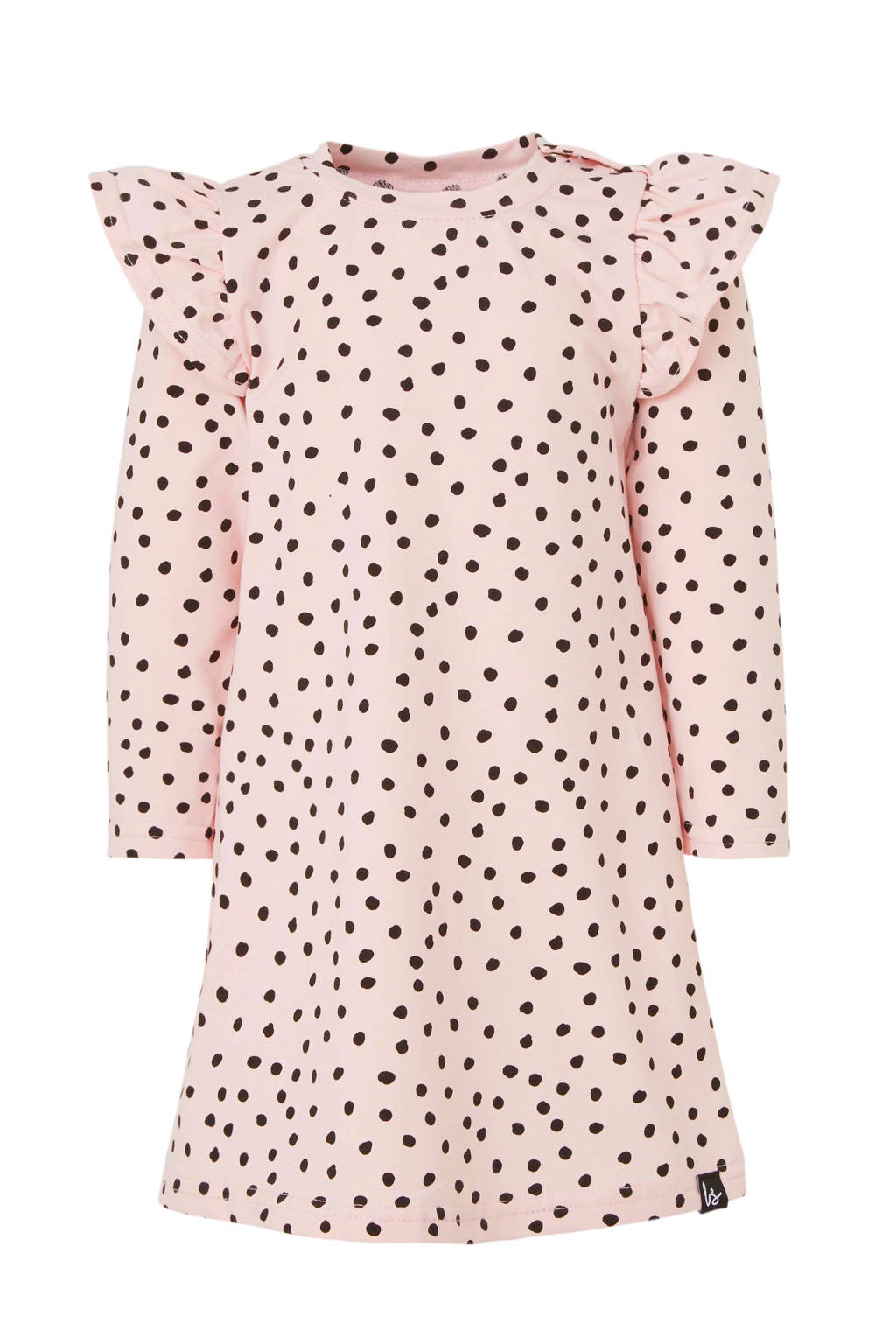 Babystyling jersey jurk lichtroze/zwart, Roze