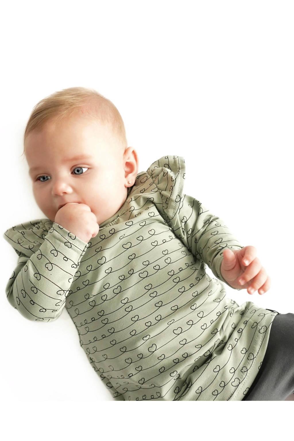 Babystyling jersey jurk lichtgroen/zwart, Mosgroen