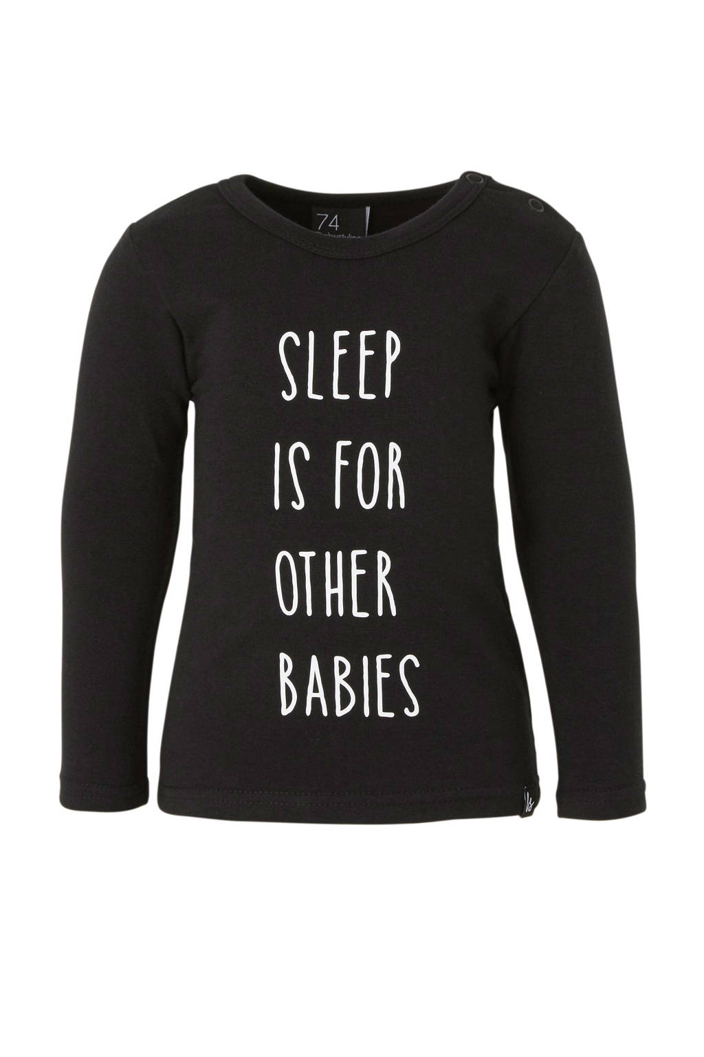 Babystyling baby basic longsleeve met tekst zwart, Zwart