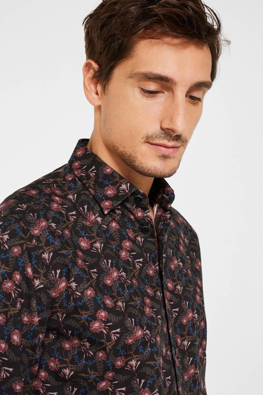 ESPRIT Men Casual regular fit overhemd met all over print zwart/rood/bruin, Zwart/rood/bruin