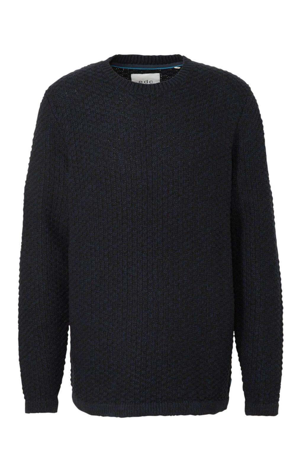 ESPRIT Men Casual sweater met textuur marine, Marine