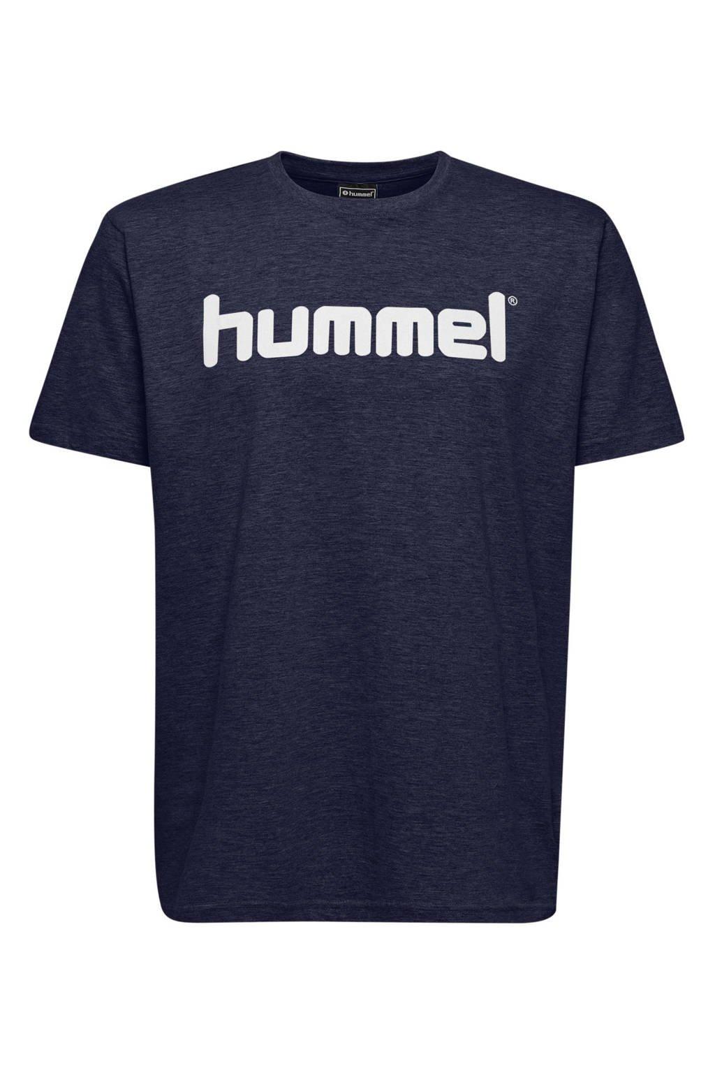hummel T-shirt met logo donkerblauw, Donkerblauw