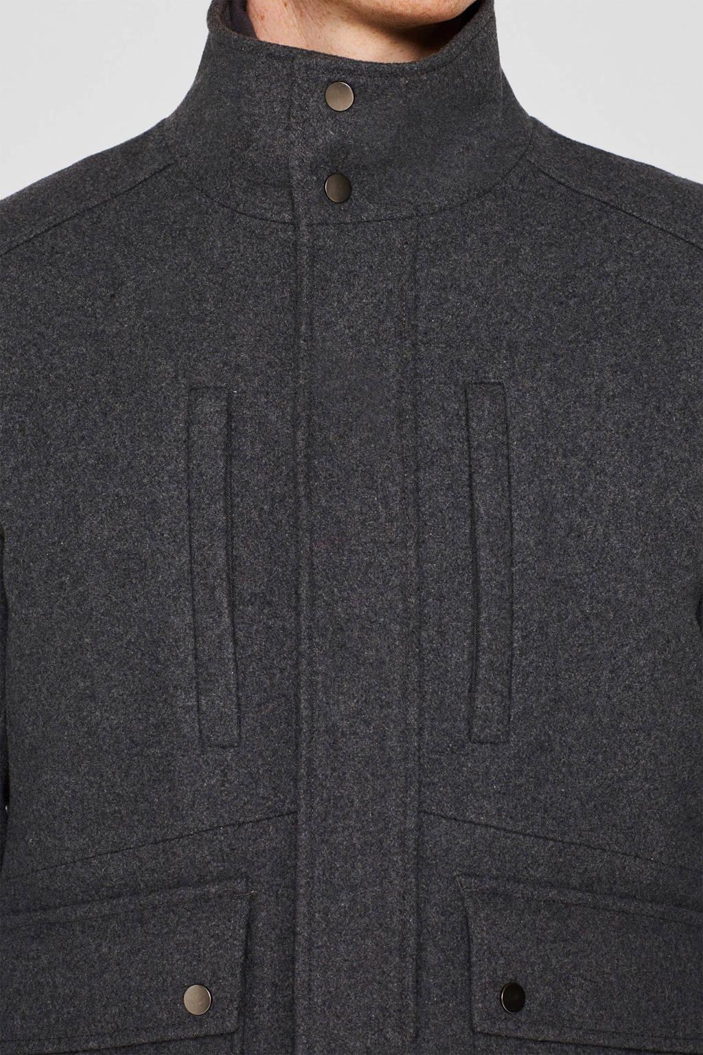 ESPRIT Men Casual winterjas met wol grijs, Grijs