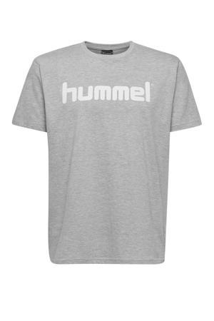 T-shirt met logo grijs melange