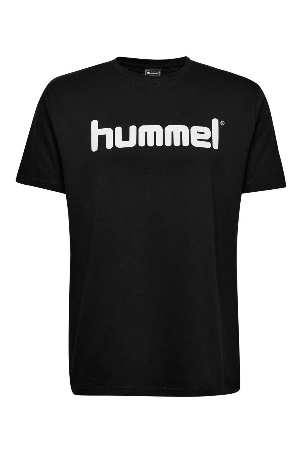 hummel T-shirt met logo zwart, Zwart