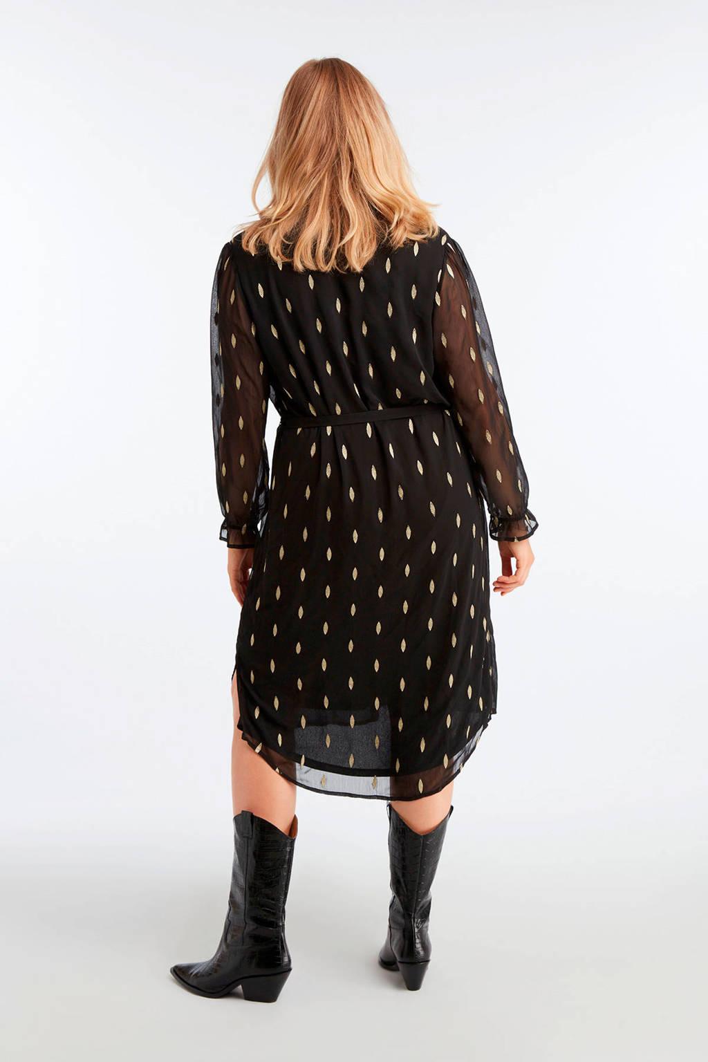 MS Mode semi-transparante jurk met all over print en ceintuur zwart/goud, Zwart/goud