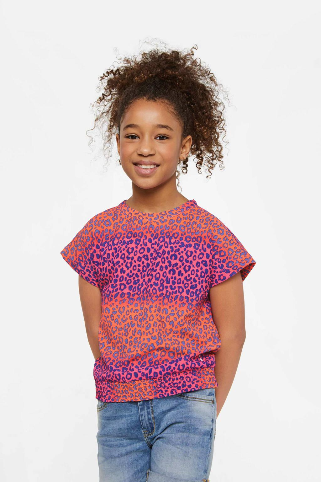 WE Fashion top met panterprint roze/paars/oranje, Roze/paars/oranje