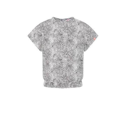 WE Fashion T-shirt met dierenprint wit/zwart