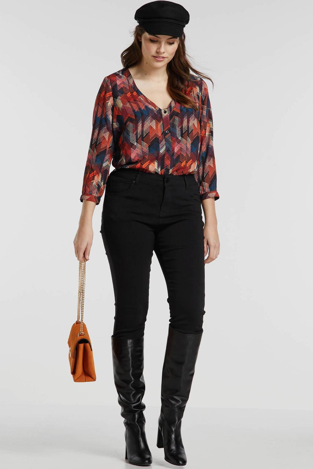 JUNAROSE top met all over print zwart/oranje/blauw, Zwart/oranje/blauw