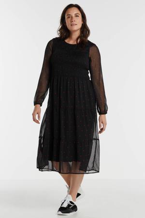 semi-transparante maxi jurk met stippen zwart
