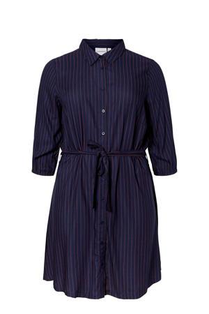 blousejurk met krijtstreep en ceintuur donkerblauw