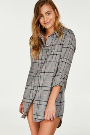 Casual geruit nachthemd grijs
