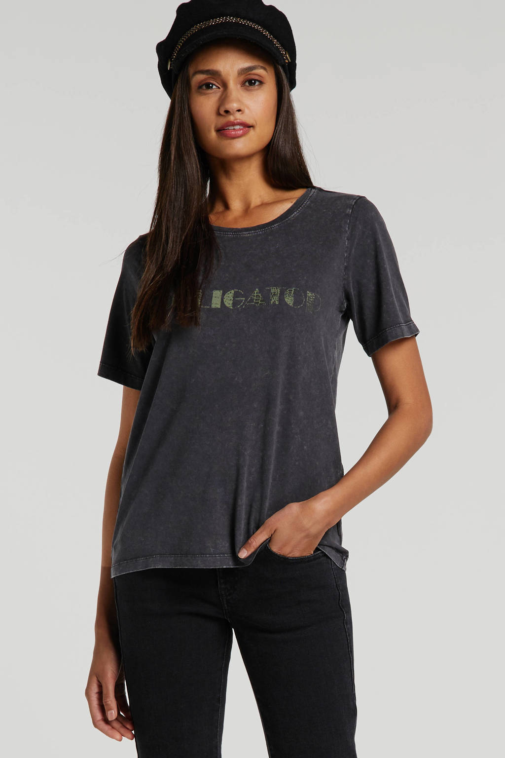 NOISY MAY T-shirt met tekst zwart, Zwart