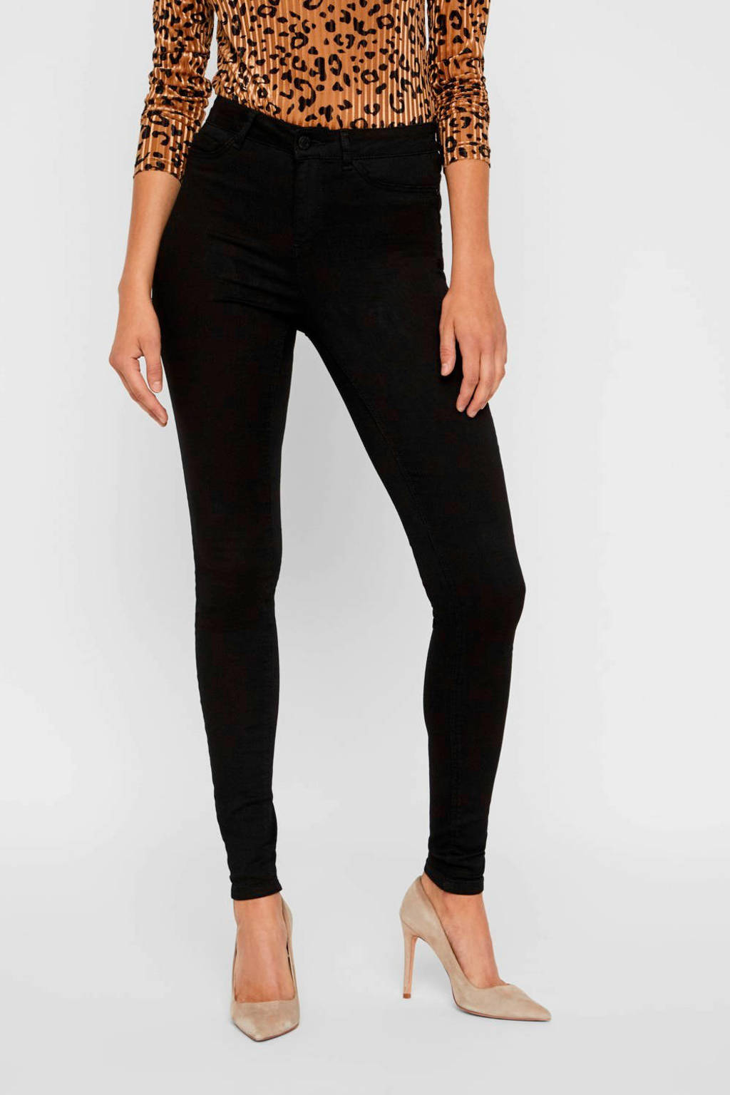 NOISY MAY high waist skinny jeans zwart, Zwart