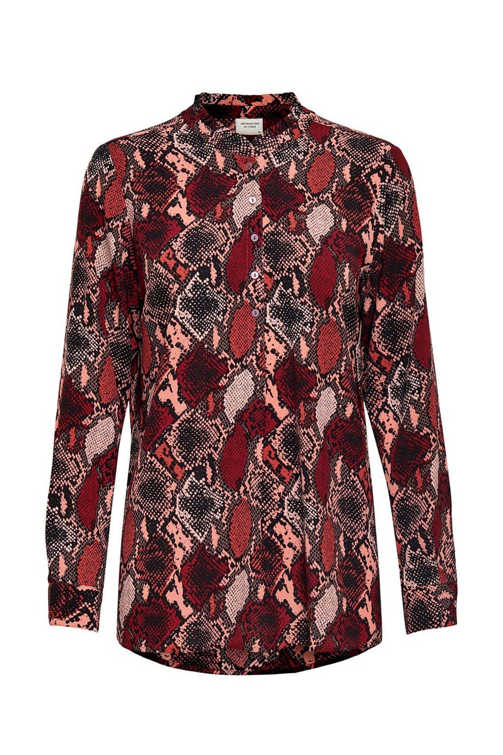 JACQUELINE DE YONG top met slangenprint en plooien rood/roze/zwart, Rood/roze/zwart