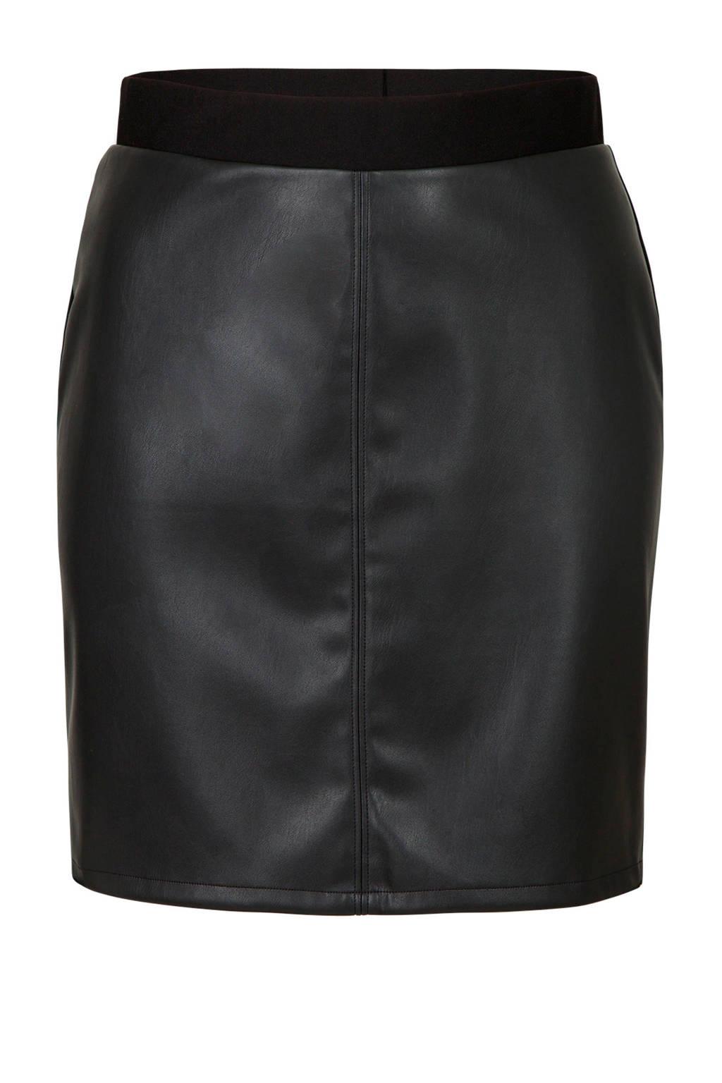 Miss Etam Plus imitatieleren rok zwart, Zwart