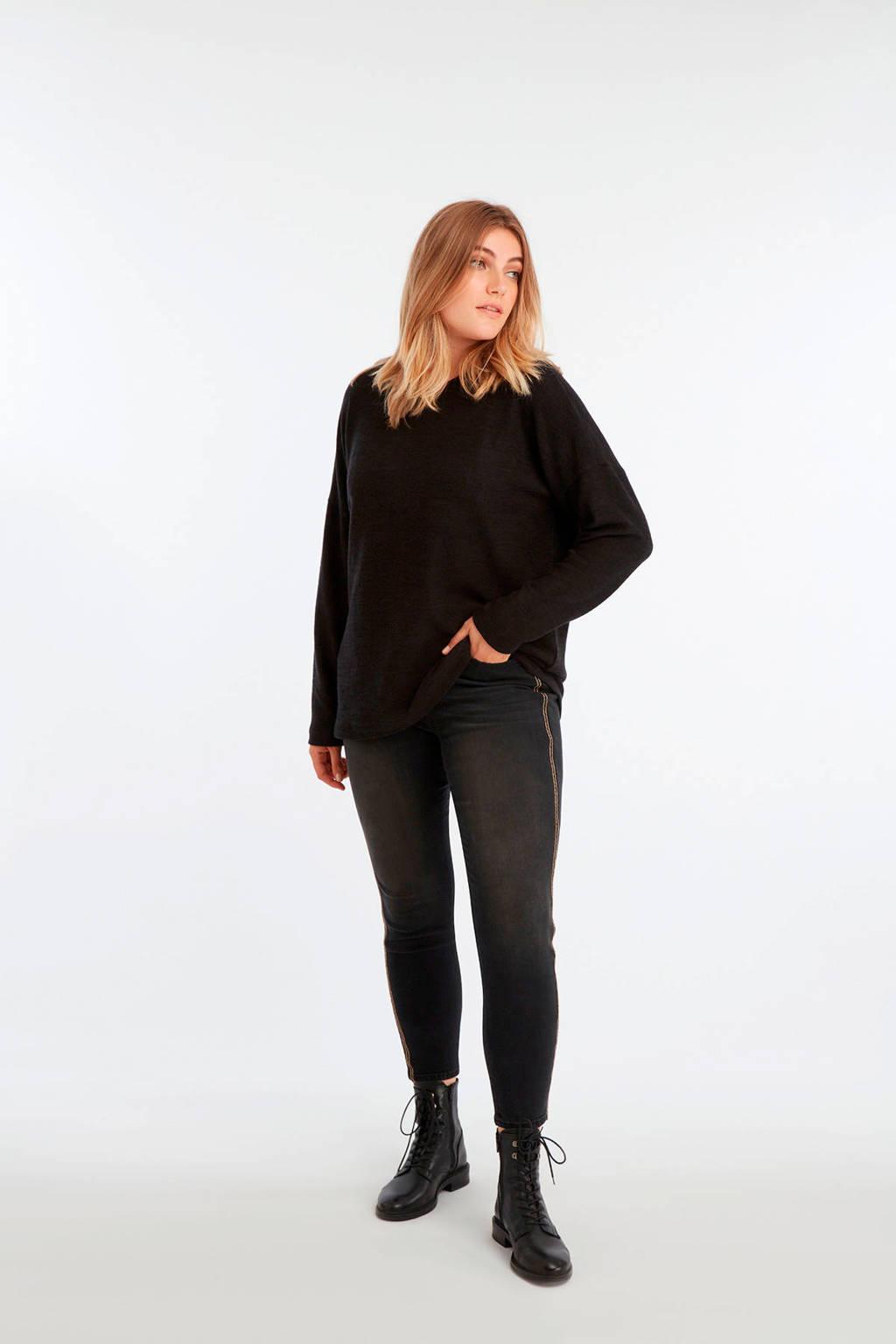 MS Mode high waist slim fit jeans donker grijs, Donker grijs