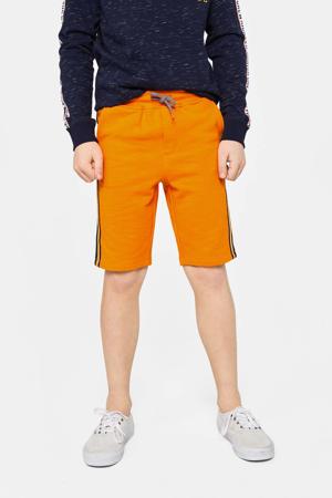 sweatshort met zijstreep oranje/zwart/wit
