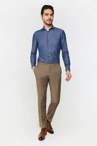 WE Fashion Van Gils geruite slim fit pantalon met wol brown melange, Brown Melange