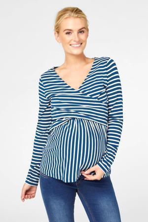 gestreepte zwangerschaps- en voedingslongsleeve met biologisch katoen blauw/wit